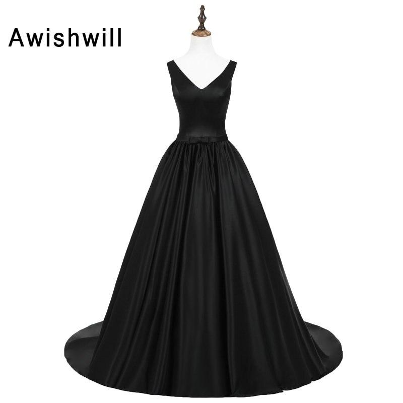 Black Formal Evening Dresses V-neck Sleeveless Satin Sexy Backless Prom Dress For Women Customized Vestido Longo De Festa