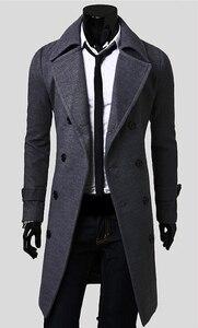 Image 5 - メンズトレンチコート新ファッションデザイナー男性ロングコート秋冬ダブルブレスト防風スリムトレンチコートの男性プラスサイズ