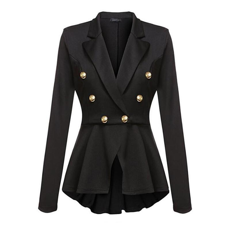 US $14 14 36% OFF|Autumn Winter 2018 Military Jackets Women Solid Turn Down  Office Suit Jacket Slim Buttons Military Black Skirts Coat Overcoats-in