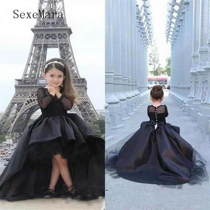 New Black High Low Kids Pageant   Dresses   Long Sleeves Sheer Neck and Illusion Back with Bow Satin   Flower     Girl     Dress   For Wedding