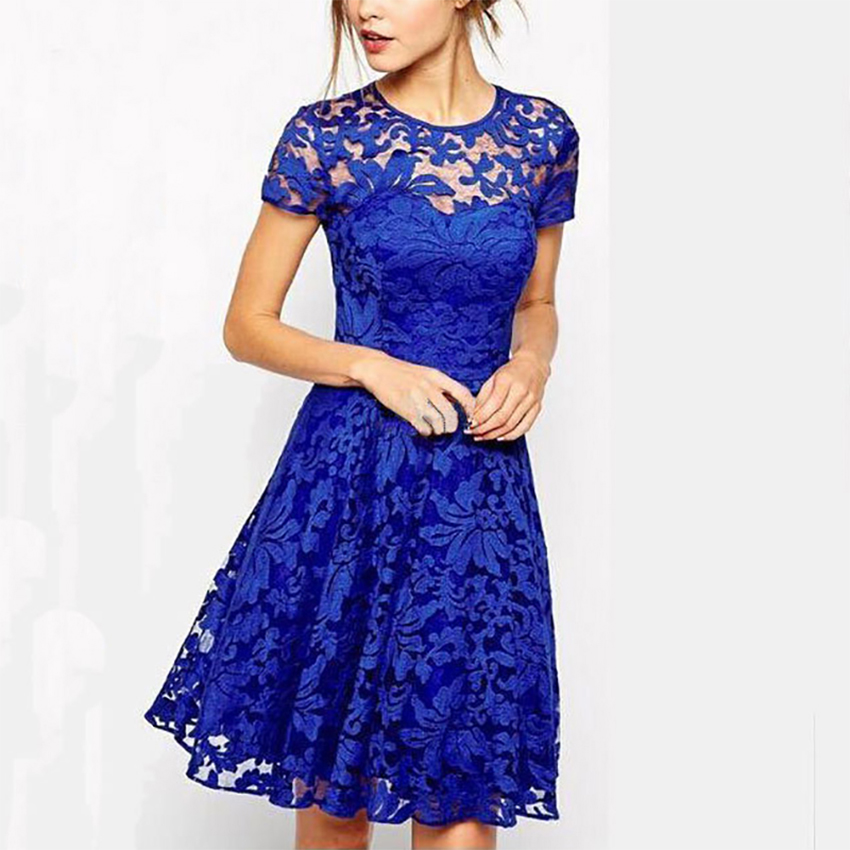Lace Patchwork Hollow Dresses Women Elegant Printed O-Neck Female Dress Solid Short Sleeve Breathable Party Dress Fashion A-Line