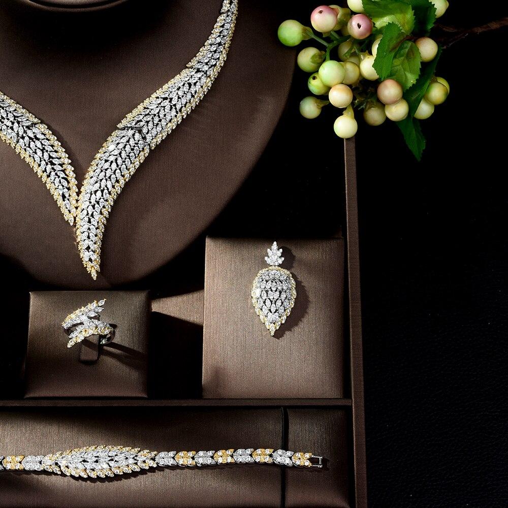 Takı ve Aksesuarları'ten Takı Setleri'de HIBRIDE Zarif Kübik Zirkon 4 adet Kolye takı seti Yaprak Tasarım Düğün gelin seti Bayan Parti Elbise için Bijoux Femme N 1022'da  Grup 3