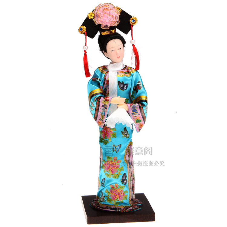 Decoration Arts Crafts Girl Gifts Get Married Fine China Qing People Ladies Tang Fang Palace Doll Silk Craf