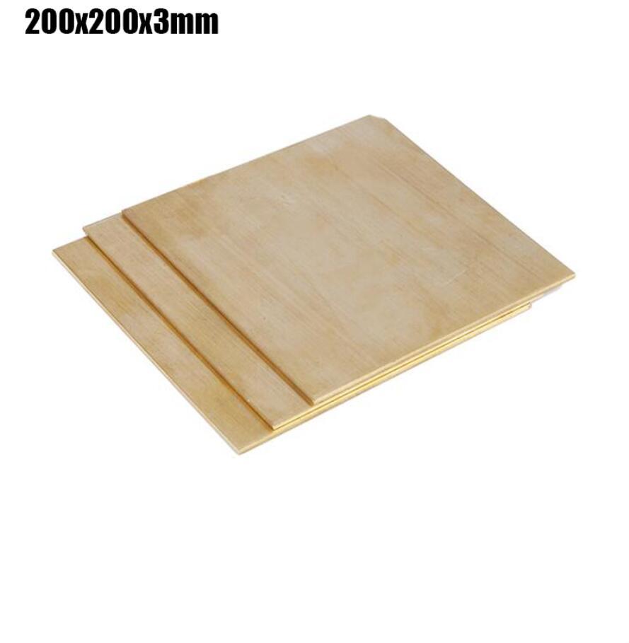 200x200x3mm haute ténacité en laiton plaque carrée Rivet écrou mince tranche en laiton bloc de papier feuille 1 pièce