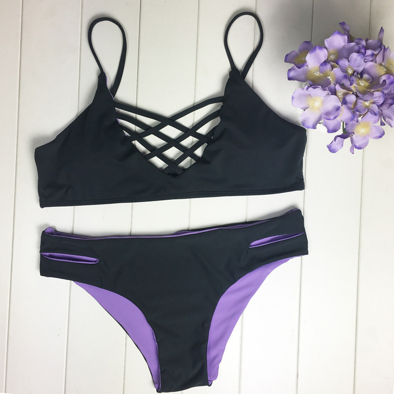 New Sexy Bikini Solid Women Swimsuit Black Split Swimwear Ladies Hollow Bikini Set Beach Bathing Suit Female Low Waist Biquini