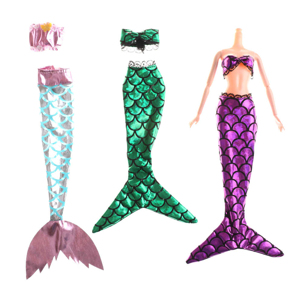 2Pcs/Set Fashion Clothes Handmade Dolls Mermaid Tail Dress  Baby Toy Party Dress Gown Skirt For new  Doll Accessories