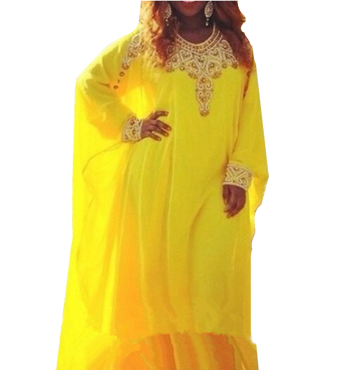 Evening Robe De Soiree Arabic Dubai 2018 New Fancy Long Sleeves O Neck Yellow Chiffon Abaya Custom mother of the bride dresses in Mother of the Bride Dresses from Weddings Events