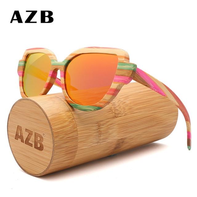 e504f1df6e55 AZB Bamboo Sunglasses Women Polarized Men Glasses Wood Graffiti Frame  Eyeglasse Vintage Design Shades UV400 With Wood Case