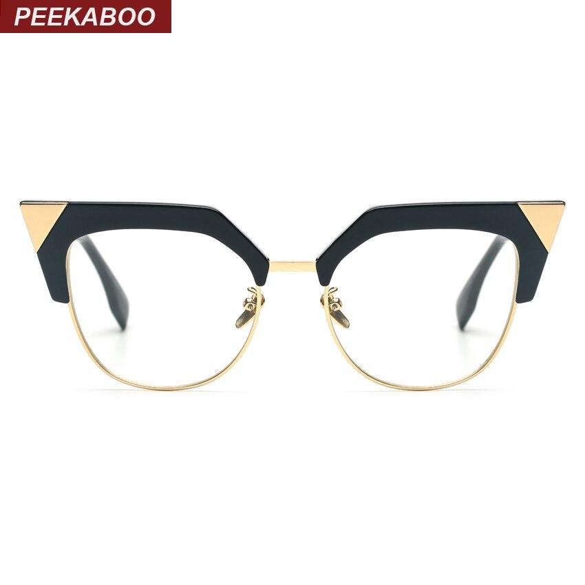 Peekaboo new women fashion glasses cat eye half metal big ...