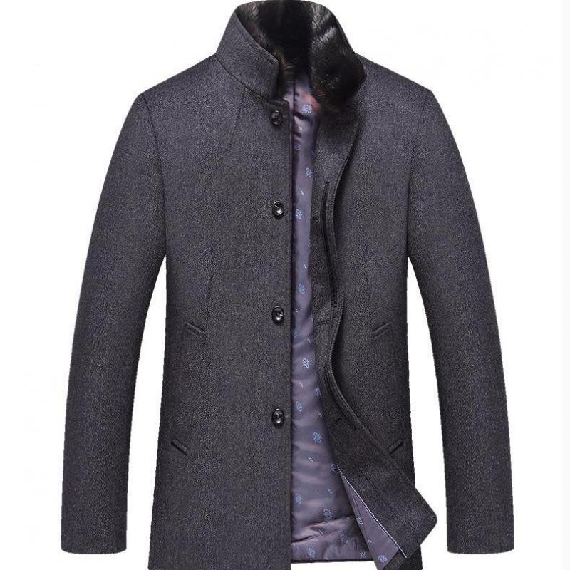 Outwear male 2019 new arrival winter high quality wool thicked trench coat mens gray jackets ,plus-size M-5XL Trench man