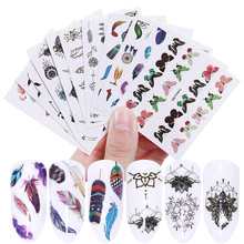 LEMOOC 10 Sheets Nail Art Water Decals Transfer Stickers Flower Butterfly Necklace Mixed Colorful Pattern Decorations