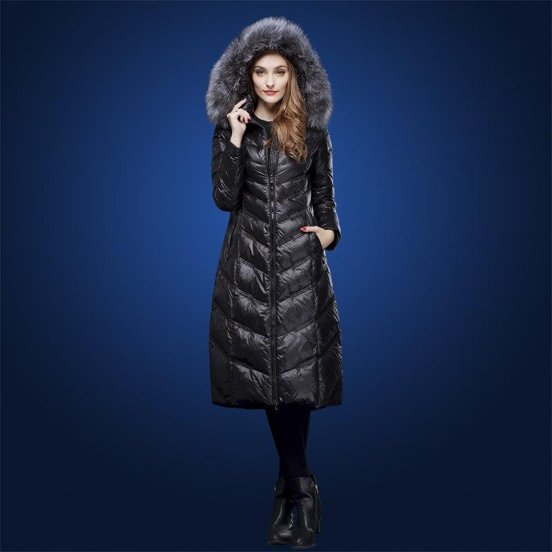 Hiver manteaux En Duvet pour les femmes Longue conception argent renard col de fourrure 90% blanc duvet de canard manteau avec un capuchon plus la taille M-3XL WD1606