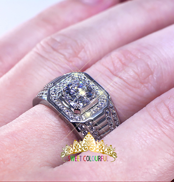 100%  18K 750Au Gold  Moissanite  Diamond man Ring  D color VVS  With national certificate MO-005