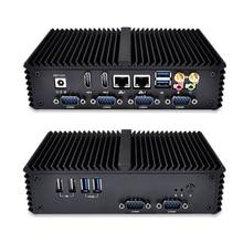 Qotom-Q310P безвентиляторный алюминиевый сплав Мини-ПК компьютер Celeron 3215U крошечные неттоп LAN COM USB HD видео ПК Dual LAN безвентиляторный Настольные ПК