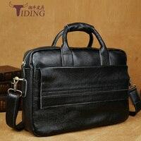 Male Bag Vintage Genuine Leather Man Handbag 2017 Black Man Briefcases Brand Laptop Bags 15