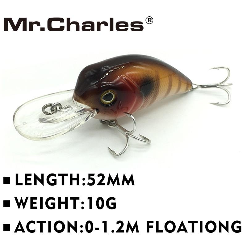 Mr.Charles 52mm 10g Crank Bait 0-1.2m Floating Bass Fishing Lure Sound Wobbler Hard Artificial Bait Deep Diving Crankbaits 3502F