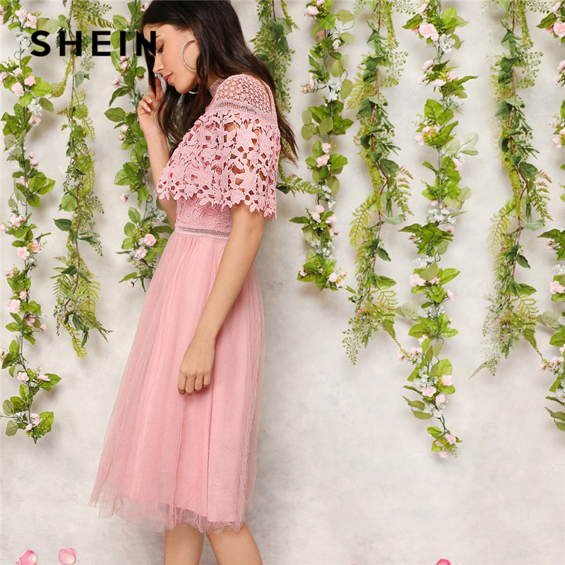 SHEIN Elegant Pink Guipure Lace Overlay Mesh Hem Midi Party Summer Dress Women 2019 Fit And Flare A Line Solid Sweet Dresses