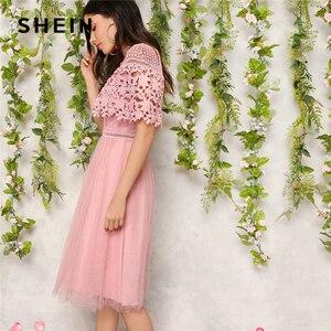 Image 1 - SHEIN élégant rose Guipure dentelle superposition maille ourlet Midi fête robe dété femmes 2019 ajustement et Flare une ligne solide robes douces
