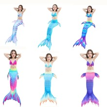 Nya föremål 3PCS / Set The Little Mermaid Tail Costume Barn Mermaid Tail Cosplay Barn för Girl Cosplay Kostymer Inga Monofin