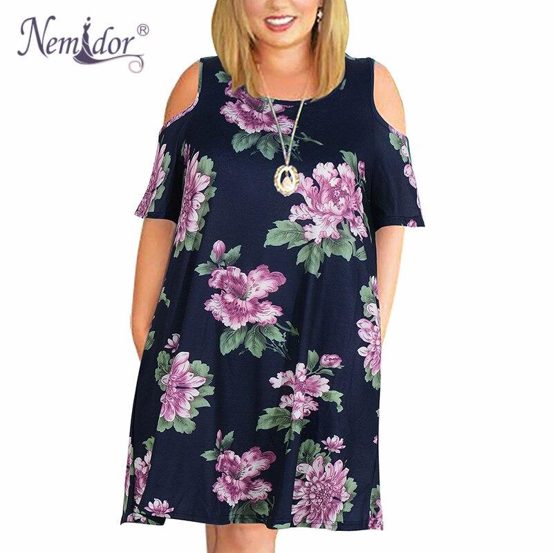Nemidor Women's Cold Shoulder Plus Size Casual T-Shirt Swing Dress with Pockets (24)