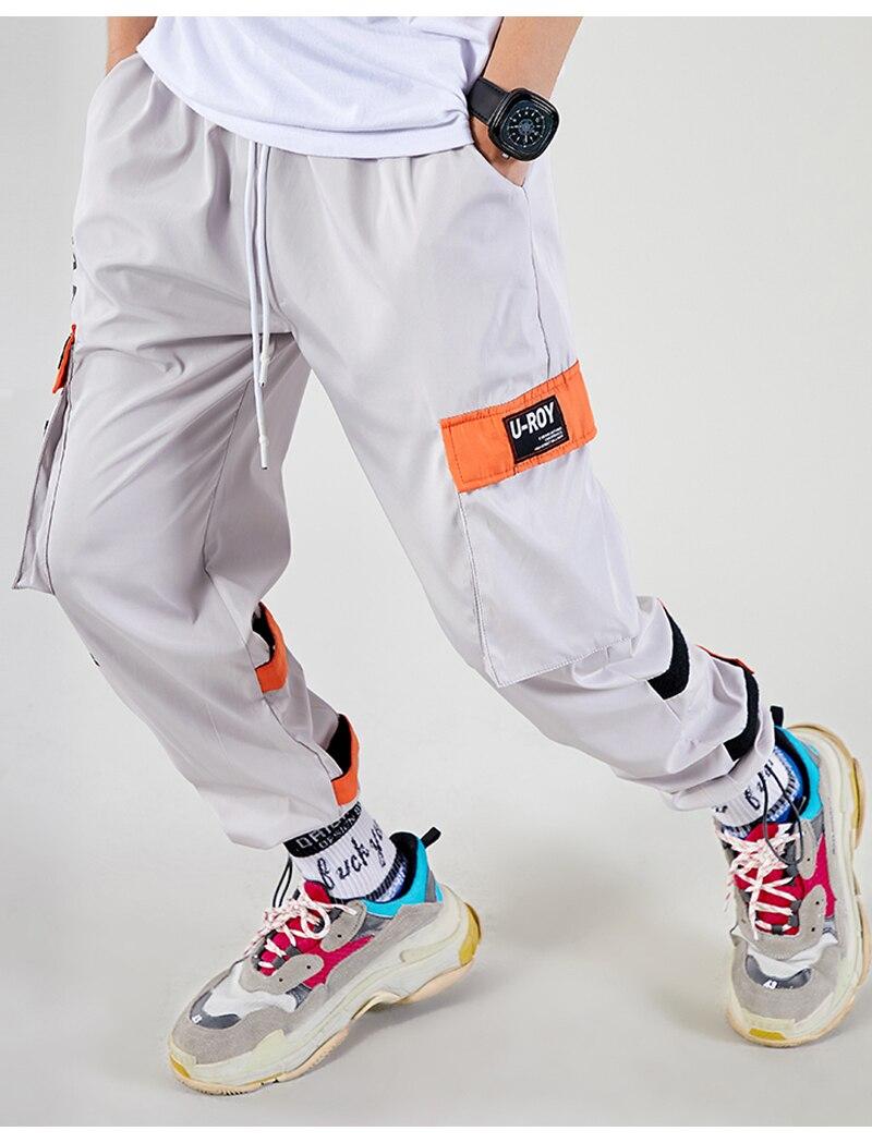 Aolamegs Men Casual Track Pants Splicing Contrast Pants Men Elastic Waist Sweatpants Men High Street Hip Hop Pants Streetwear (10)