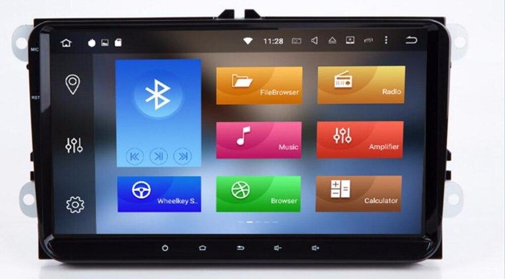 2 Din 9 pouces Octa core Android 9.0 voiture dvd GPS pour VW Polo Jetta Tiguan passat b6 cc fabia lien miroir 4G wifi Radio BT dans le tableau de bord