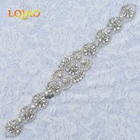 1pc Handmade Beaded Sew On Hot Fix Iron On Sliver Crystal Rhinestone Applique For Wedding DIY
