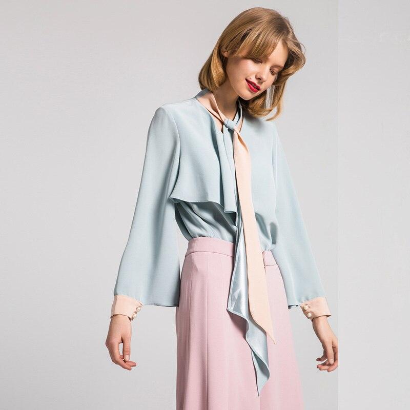 Bella Philosophy 2019 Macaron blue pink elegant women tie bow lace up blouse ladies office blusas asymmetry v-neck shirts белая рубашка с объемными рукавами и вырезом