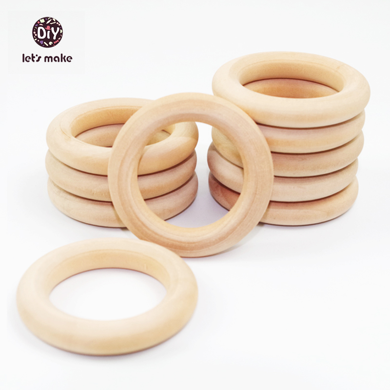 Let's Make Rings 20pc Wooden Teething Necklace Baby Teether