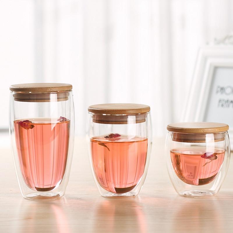 Теплоизоляция Bodum дизайн вина кафе сок чашка бесплатно BPA двойной стенки Стекло для бара запечатывания путешествия кофе кружка с бамбуковой...