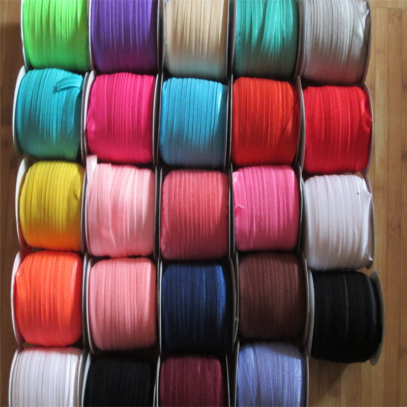 5 8 16mm 80 Colors FOE Fold Over Elastic Ribbon edge binding Tensile ribbons stretchy webbing