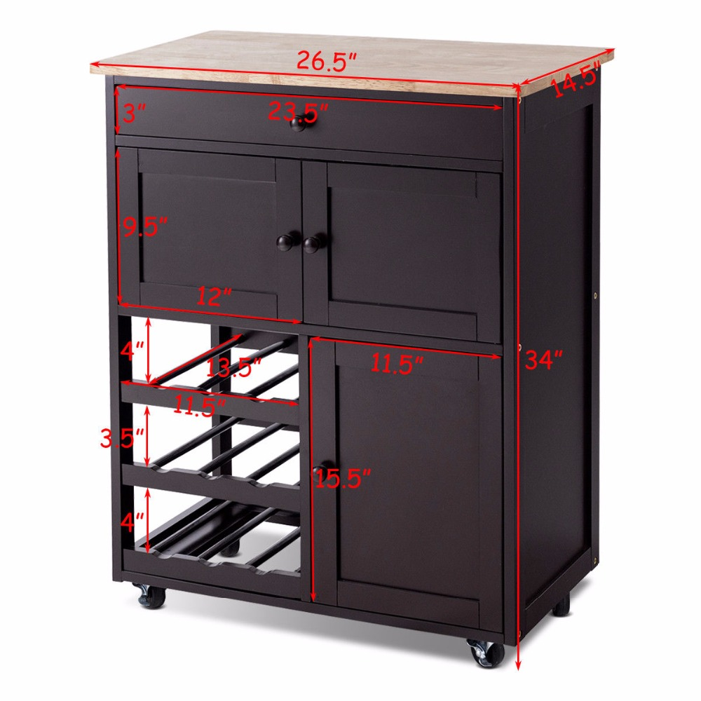 Giantex Modern Rolling Kitchen Cart Trolley Island Storage Cabinet w/Drawer&Wine Rack Dining Room Furniture HW56608BN 5
