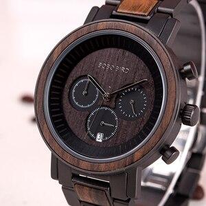 Image 3 - BOBO BIRD luxury Stainless Steel Wood Watches Men Chronograph Date Display Quartz Wristwatches Relogio Masculino Dropshipping