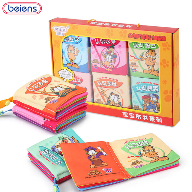 Beiens 6 Pieces 72 Pages Soft Cloth Baby Books Rustle Sound Infant Educational Stroller Toys For Newborn Baby 0-12 Month
