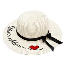 التطريز شخصية مخصصة شعار اسمك قبعة من القش قبعة الشمس حافة كبيرة قبعة من القش في الهواء الطلق قبعة للشاطئ قبعات الصيف
