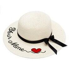 Chapeau en paille avec LOGO personnalisé brodé avec votre nom personnalisé, chapeau de soleil, à Large bord, pour la plage, le plein air, pour lété
