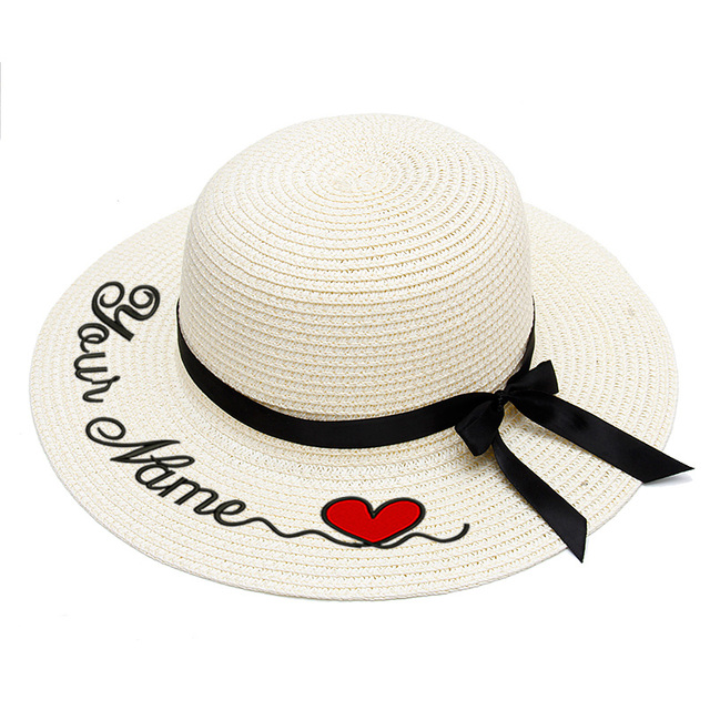 Embroidery Personalized Custom LOGO Your Name straw hat Sun Hat Large Brim Straw Hat Outdoor Beach hat Summer Caps
