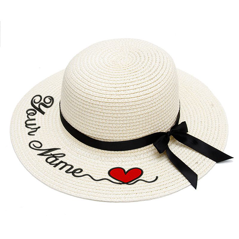 Child Baby Embroidery Personalized Custom LOGO Your Name Straw Hat Sun Hat Large Brim Straw Hat Outdoor Beach Hat Summer Caps