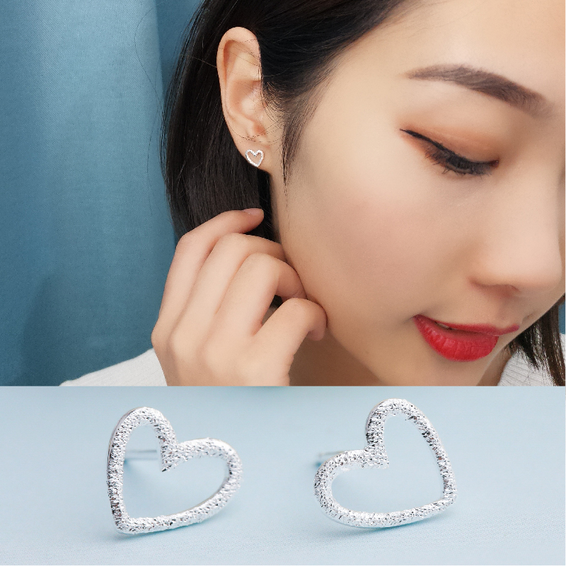 LNRRABC new Free Shipping 1Pair Unique 2018 Silvery Handmade Dull Polish Hollow Heart Stud Earrings Hot Sale Allergy Free earrs in Stud Earrings from Jewelry Accessories