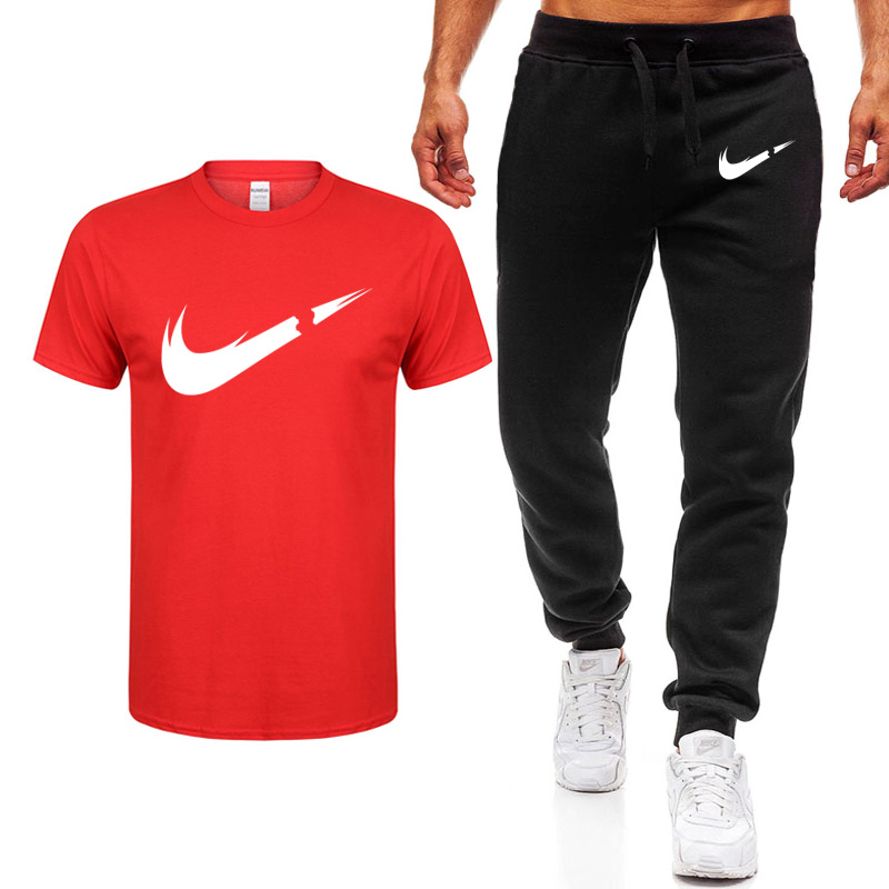new-men's-sets-t-shirts-pants-two-pieces-sets-casual-tracksuit-male-casual-tshirt-gyms-fitness-trousers-2019-men-classic-brand