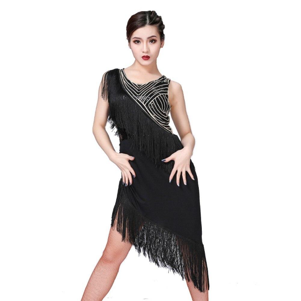 Latin Dance Costumes Women Salsa Dancewear Dance Costume Dresses Ballroom Competition Dresses Tango Adult Fringe Gold Sequin