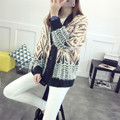 2016 New Hot Autumn and Winter Korean Version Long Geometric Spell Color Loose Wild Knit Cardigan Sweater Fashion Ladies C907