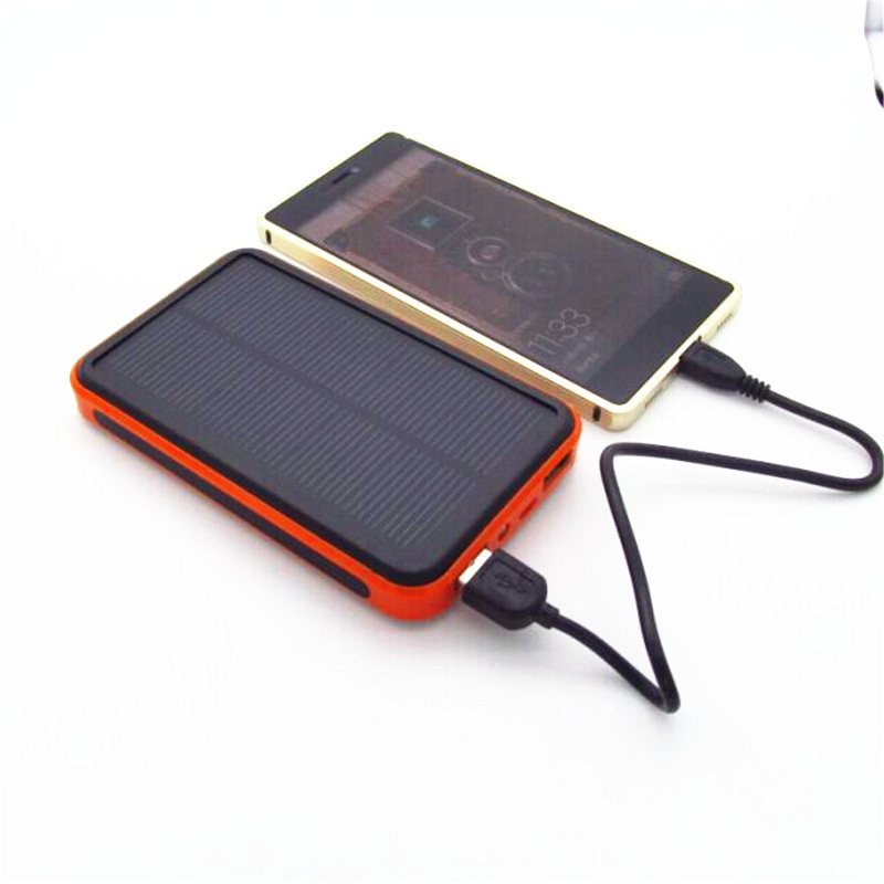 Waterproof Solar Power Bank Real 20000 mAh Dual USB External Polymer Battery Charger Outdoor Light Lamp Powerbank Universal solar powered 2600mah external li polymer battery charger power source bank black