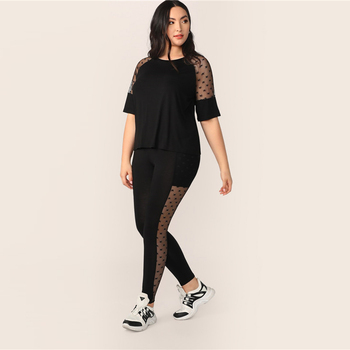 Plus Size Black Star Mesh Insert Sleeve Top And Leggings Set
