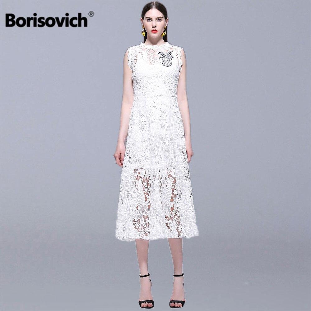 Borisovich femmes été blanc dentelle longue robe nouveau 2019 mode sans manches de luxe broderie dames élégantes robes de soirée N1282