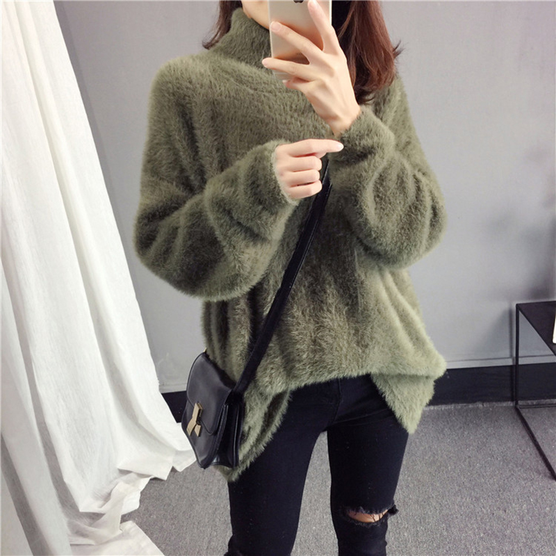 Winter Turtleneck Pullover Womens befree Knit Sweater 2018 New Korean Loose Warm Pullover Female Vogue High Collar Sweaters N623 in Pullovers from Women 39 s Clothing