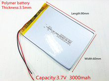 3.7V 3000mAh 356090 Lithium Polymer Li-Po li ion Rechargeable Battery cells For Mp3 MP4 MP5 GPS PSP mobile bluetooth