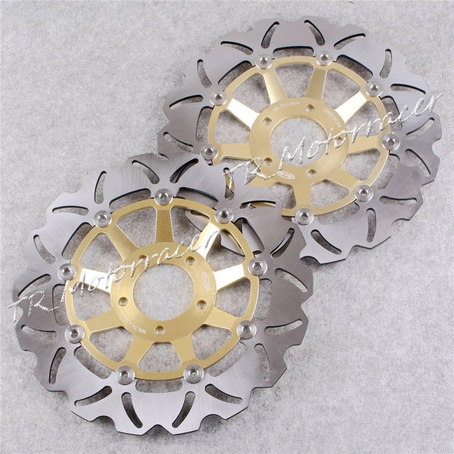 купить A pair Front Brake Disc Rotors For SUZUKI GSXR 750 / 1100 / LIMITED EDITION 750 Gold Motorcycle Brake Disks! онлайн