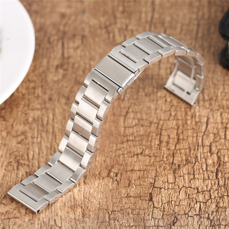 high quality 20 22mm silver black bracelet men women watch band strap cool replacement solid link stainless steel watchstrap High Quaity 20mm 22mm Stainless Steel Watch Band Black Silver Watchstrap Replacement for Clock Hour Women Men Luxury Bracelet