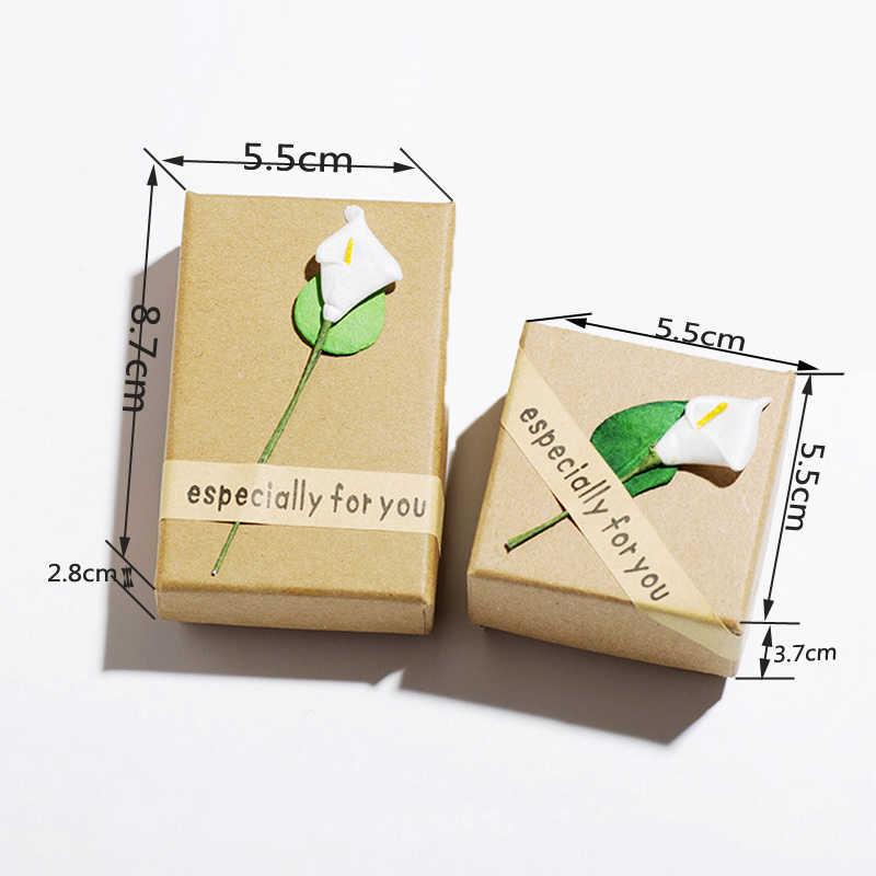 Mode Hohe Qualität Retro Schmuck Aufbewahrungsbox Fall Blume Armband Ring Kraftpapier Brief Schmuck Zubehör Verpackung